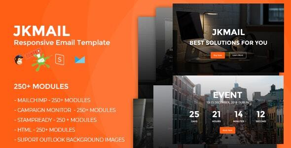 JKmail- Best Responsive Email Template (250+ Modules) + Online Stampready Builder