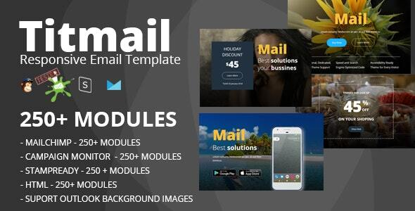 TITMAIL - Responsive Email Template (250+ Modules) + Online Stampready Builder