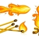 Cartoon Touristic Campfire with Burning Firewood, Match and Jet - GraphicRiver Item for Sale