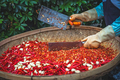 Chillies and garlic being chopped in a wicker bowl - PhotoDune Item for Sale