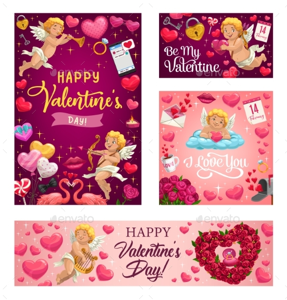 Valentines Day Love Hearts Cupids and Flowers