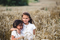 Two adorable little sisters walking happily in wheat field on warm and sunny summer day - PhotoDune Item for Sale