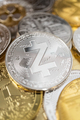Close-Up Of Zcash Physical Coin On Stack Of Many Other Cryptocurrencies - PhotoDune Item for Sale
