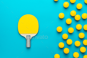 Racket And Many Balls For Table Tennis On Turquoise Blue Background