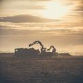 Excavator working on construction site, loading dump track. - PhotoDune Item for Sale