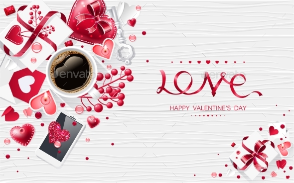 Valentine Day Love Cup of Coffee Lettering Web