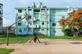 Young African American Man Doing Exercises On Outdoor Court in Cuba - PhotoDune Item for Sale