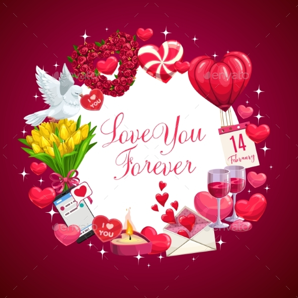 Love You Forever Valentine Day Wish Hearts
