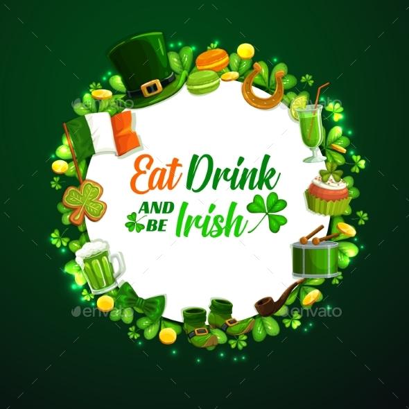 St. Patricks Day Holiday Frame on Green