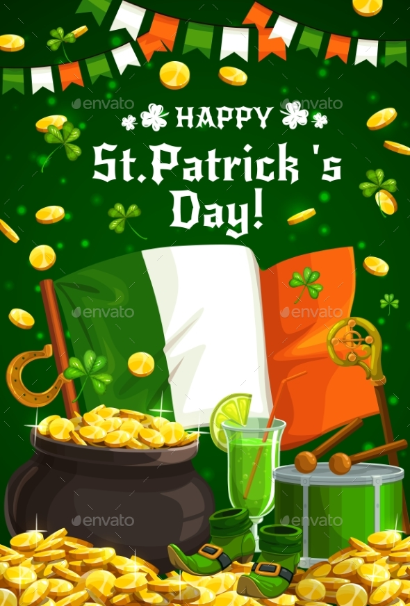 Irish Shamrock Gold and Flag for Patricks Day