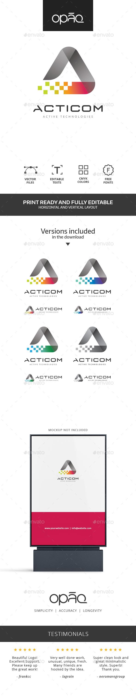 A Letter Colorful Pixel Logo