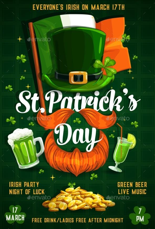 Patricks Day Irish Flag, Gold, Beer