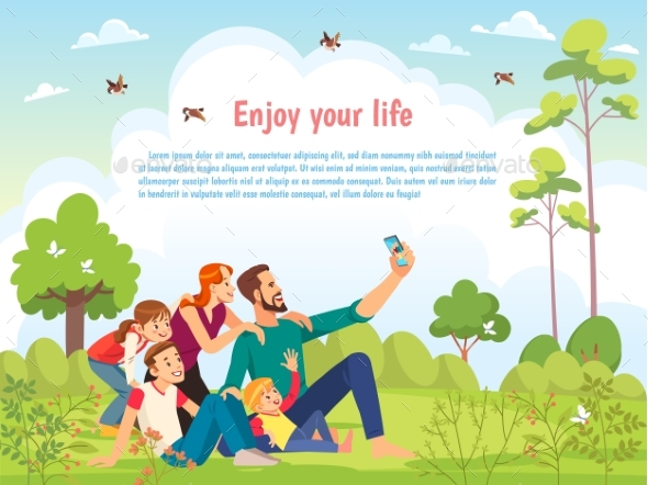 Happy Family in the Park Taking Selfie on a Sunny