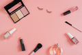 Woman cosmetics and make up on pink background, Top view - PhotoDune Item for Sale