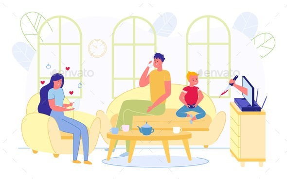 Family Doing Different Activities in Living Room.