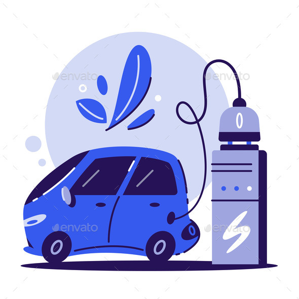 Electric Car. Charging Concept. Cartoon Vector