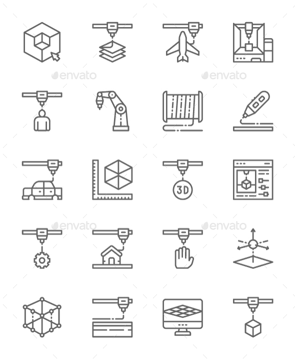 Set Of 3D Printing Line Icons. Pack Of 64x64 Pixel Icons