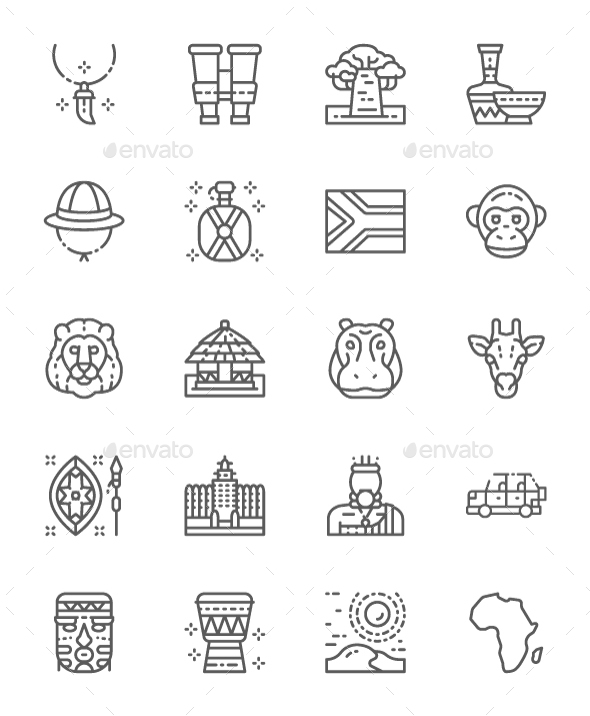 Set Of Africa  Line Icons. Pack Of 64x64 Pixel Icons