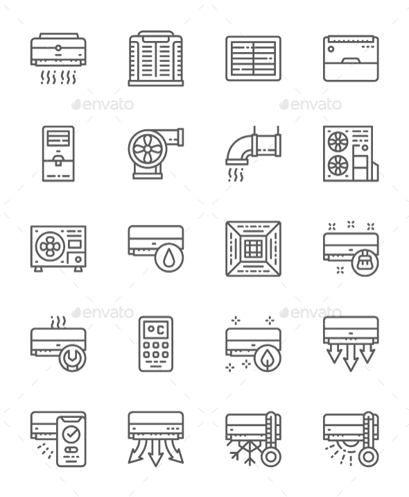Set Of Air Conditioning  Line Icons. Pack Of 64x64 Pixel Icons