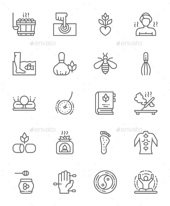 Set Of Alternative Medicine  Line Icons. Pack Of 64x64 Pixel Icons