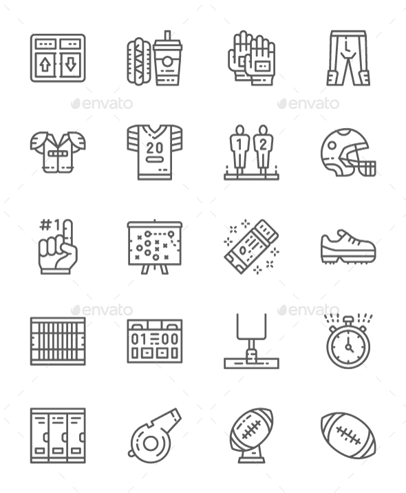 Set Of American Football  Line Icons. Pack Of 64x64 Pixel Icons