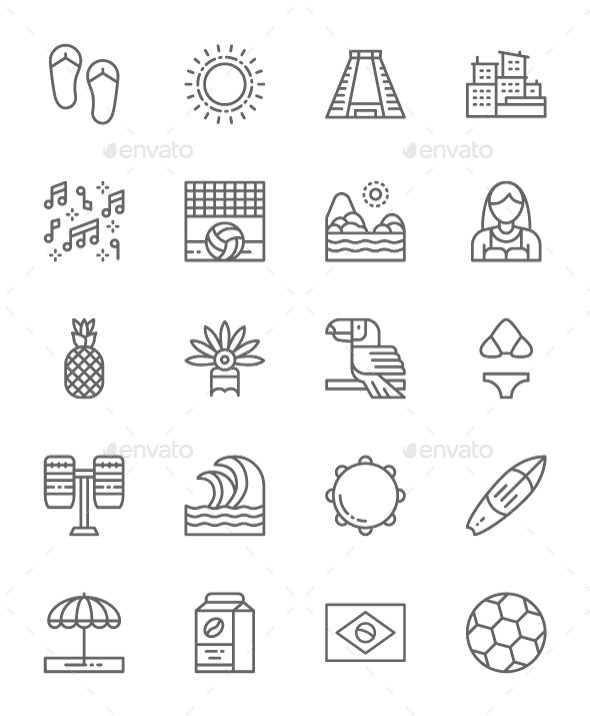 Set Of Brazilian Culture  Line Icons. Pack Of 64x64 Pixel Icons