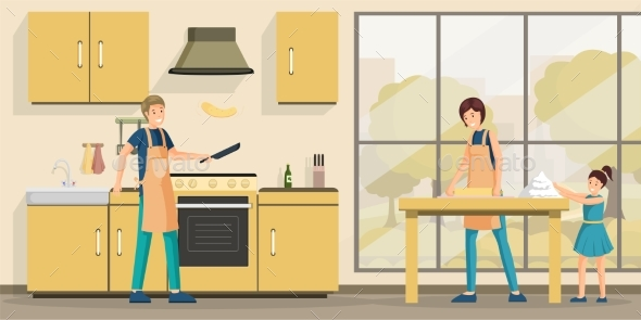 Family Cooking Lunch Flat Vector Illustration