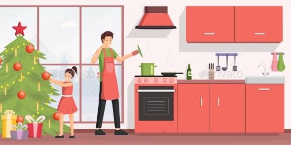 Christmas Dinner Cooking Flat Vector Illustration