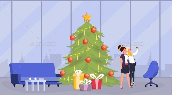Girls Celebrating New Year Flat Illustration