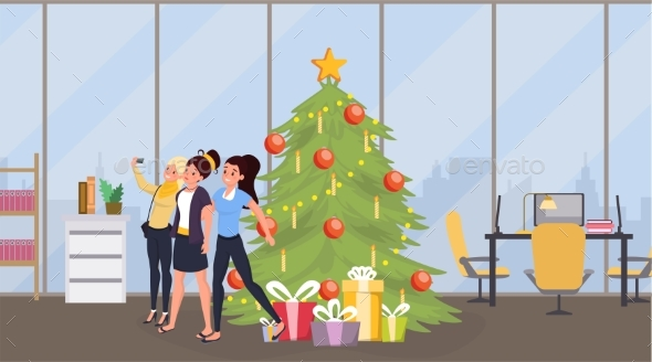 Office New Year Party Vector Illustration. Young