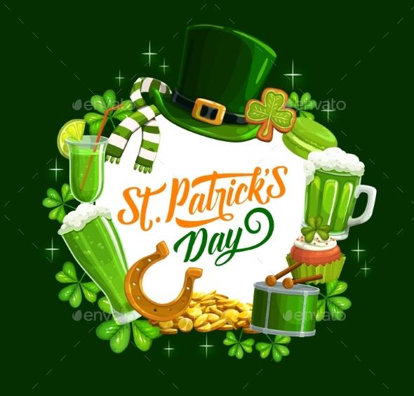 Patricks Feast Holiday Symbols Food and Drinks