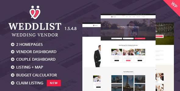 Weddlist - Wedding Vendor Directory WordPress Theme