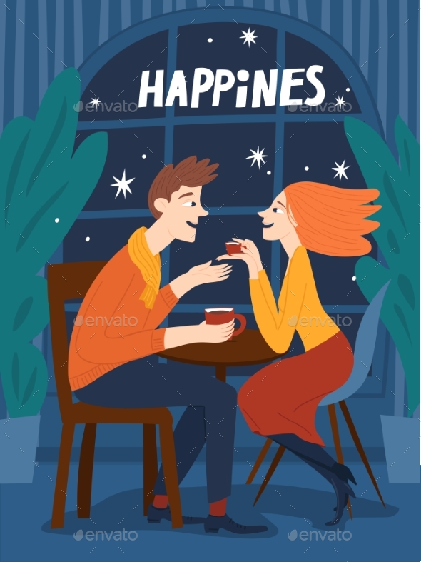 Valentines Day Poster or Card with Happy Couple
