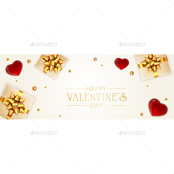 Gift Box with Red Valentines Hearts
