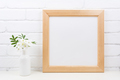 Wooden square frame mockup with Tobacco flowers - PhotoDune Item for Sale