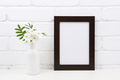 Black brown poster frame mockup with Tobacco flowers - PhotoDune Item for Sale