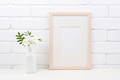 Wooden frame mockup with Tobacco flowers - PhotoDune Item for Sale