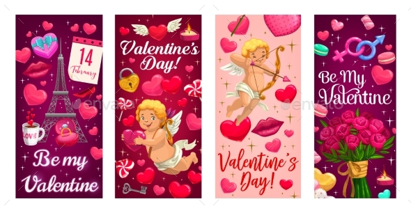 Cupid Valentines Day Gift and Hearts Banners
