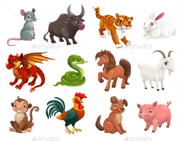 Chinese Horoscope Cartoon Vector Animals