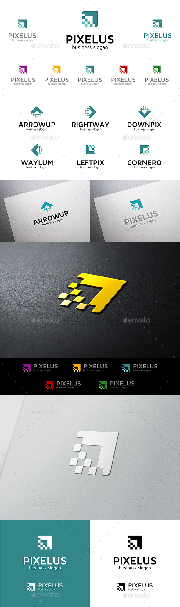 Pixelus Pixel Arrow Vector Multipurpose Logo Template for Business