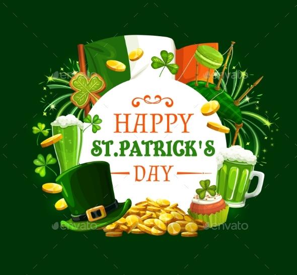 Frame of Patricks Day Holiday Symbols