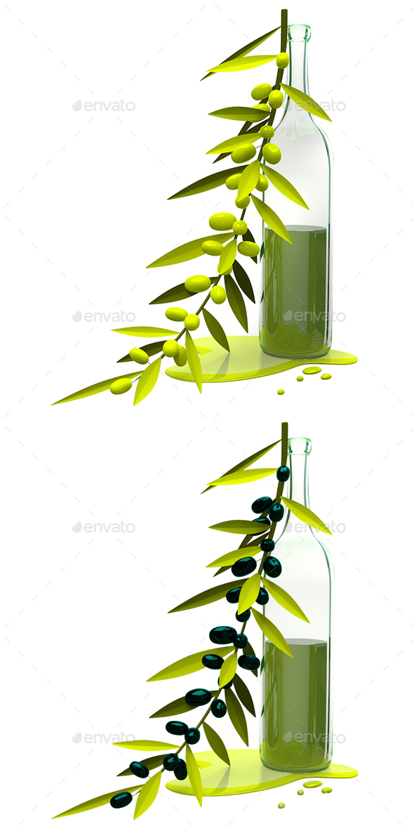 3D Illustration Olive Branch and Bottle with Oil