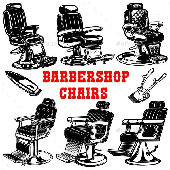 Set of Barber Shop Chair Illustrations