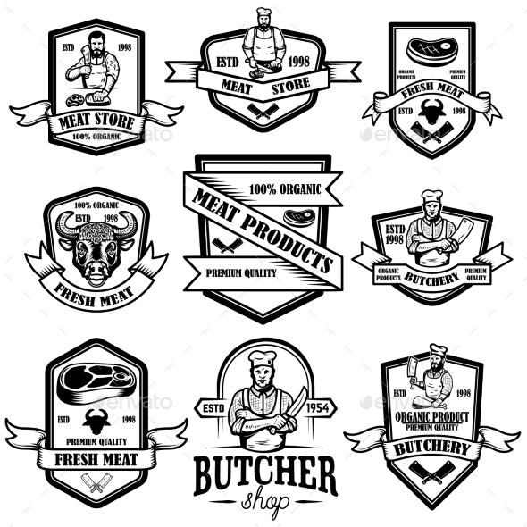 Set of Vintage Meat Store Labels Design Element