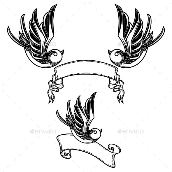 Set of Vintage Style Tattoo with Swallow Birds