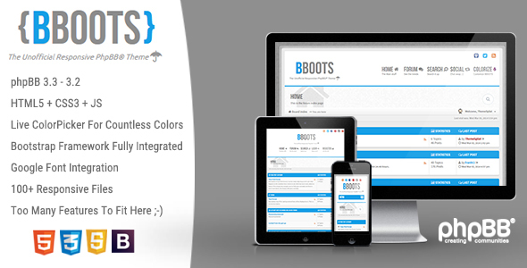 BBOOTS - HTML5/CSS3 Fully Responsive phpBB 3.2 Theme