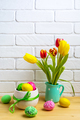 Easter arrangement with tulips in the mint green pitcher - PhotoDune Item for Sale