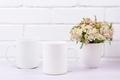 Two coffee mug mockup with pink beige wild flowers - PhotoDune Item for Sale