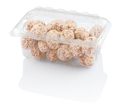 rounds candy with coconut shavings in a plastic container isolated on white with clipping paths - PhotoDune Item for Sale
