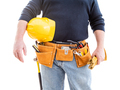 Contractor With Tool Belt, Hard Hat and Gloves Isolated on White Background - PhotoDune Item for Sale